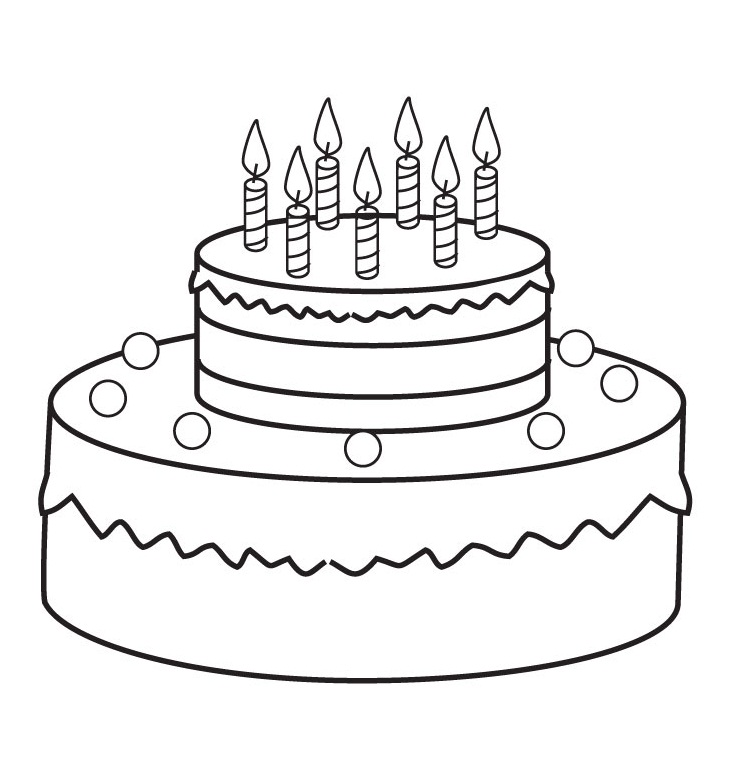 Cake with 6 candles black and white clipart png black and white Free Birthday Picture Cakes, Download Free Clip Art, Free Clip Art ... png black and white