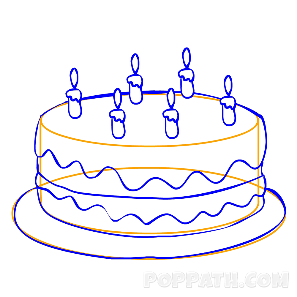 Cake with 6 candles black and white clipart graphic black and white How To Draw A Birthday Cake – Pop Path graphic black and white