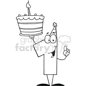 Cake with 6 candles black and white clipart royalty free download Number One With Birthday Cake And One Candle Lit clipart. Royalty-free  clipart # 379416 royalty free download