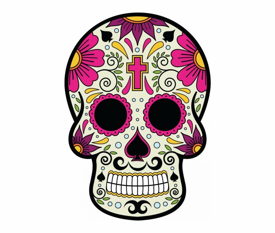 Calavera dia de muertos clipart clip black and white download Sticker Calavera Tete De Mort Mexicaine 6 Ref D7444 - Skull And ... clip black and white download