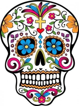 Dia de los muertos skull clipart