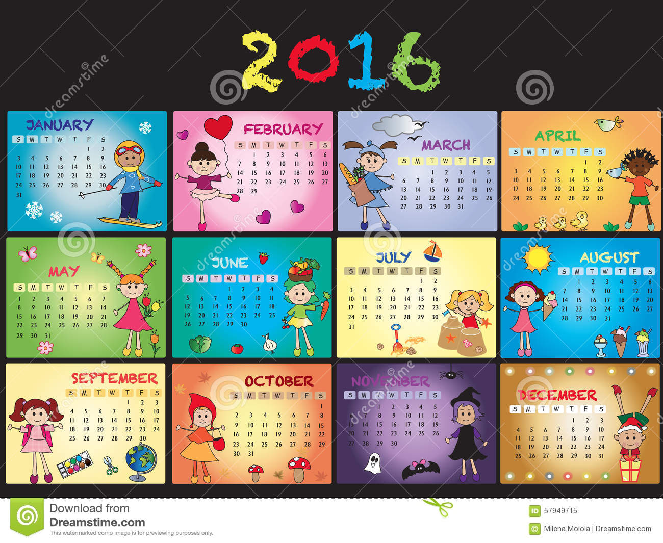 2016 Calendar Clipart - Clipart Kid banner freeuse stock
