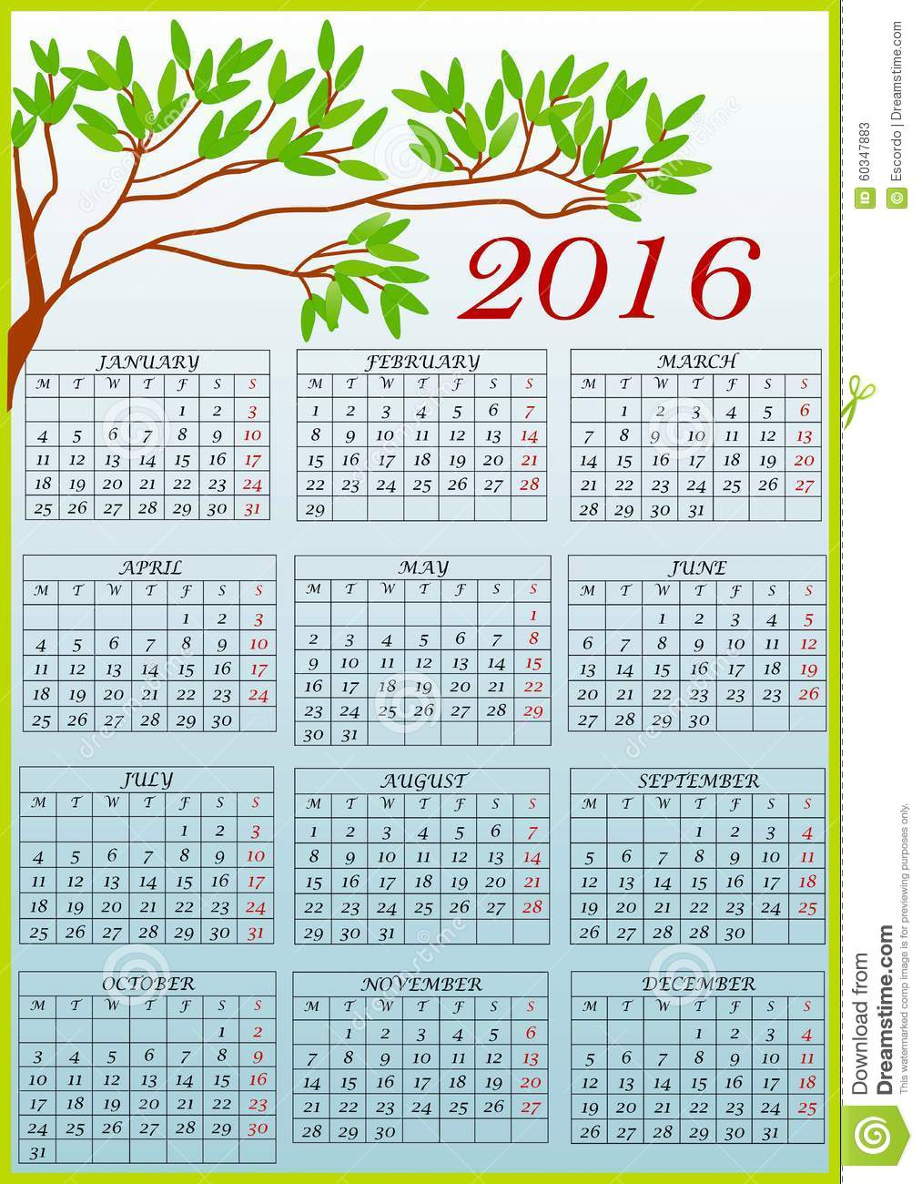 Calendar 2016 clipart banner black and white download Clip Art With Calendar 2016 Stock Illustration - Image: 60347883 banner black and white download