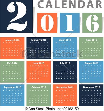 Clipart Vector of Calendar 2016 Vector design csp29182159 - Search ... banner library