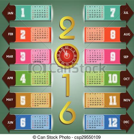 Vector Clipart of Calendar 2016 happy new year - Calendar 2016 ... vector library library