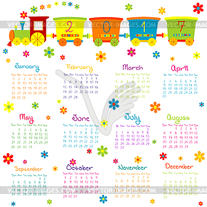 Calendar 2017 clipart banner black and white 2017 Calendar with toy train and flowers - vector clipart banner black and white