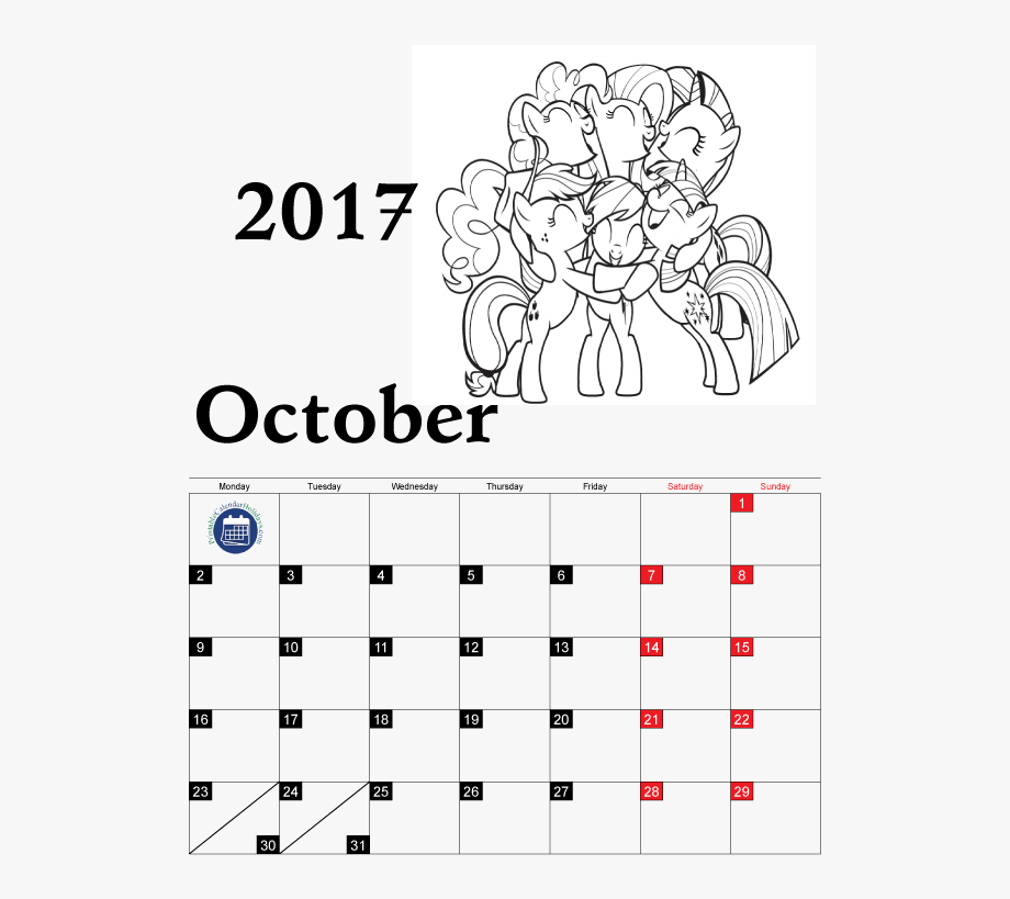 Calendar 2017 clipart vector free stock Coloring Pages Calendar For Kids Free Printable Ⓒ - October ... vector free stock