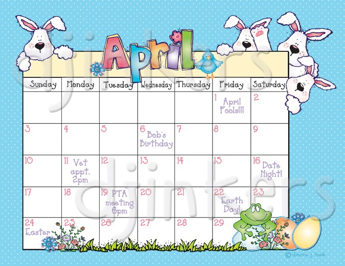 Calendar april clipart png library library Whimsical springtime clip art and borders by DJ Inkers - DJ Inkers png library library