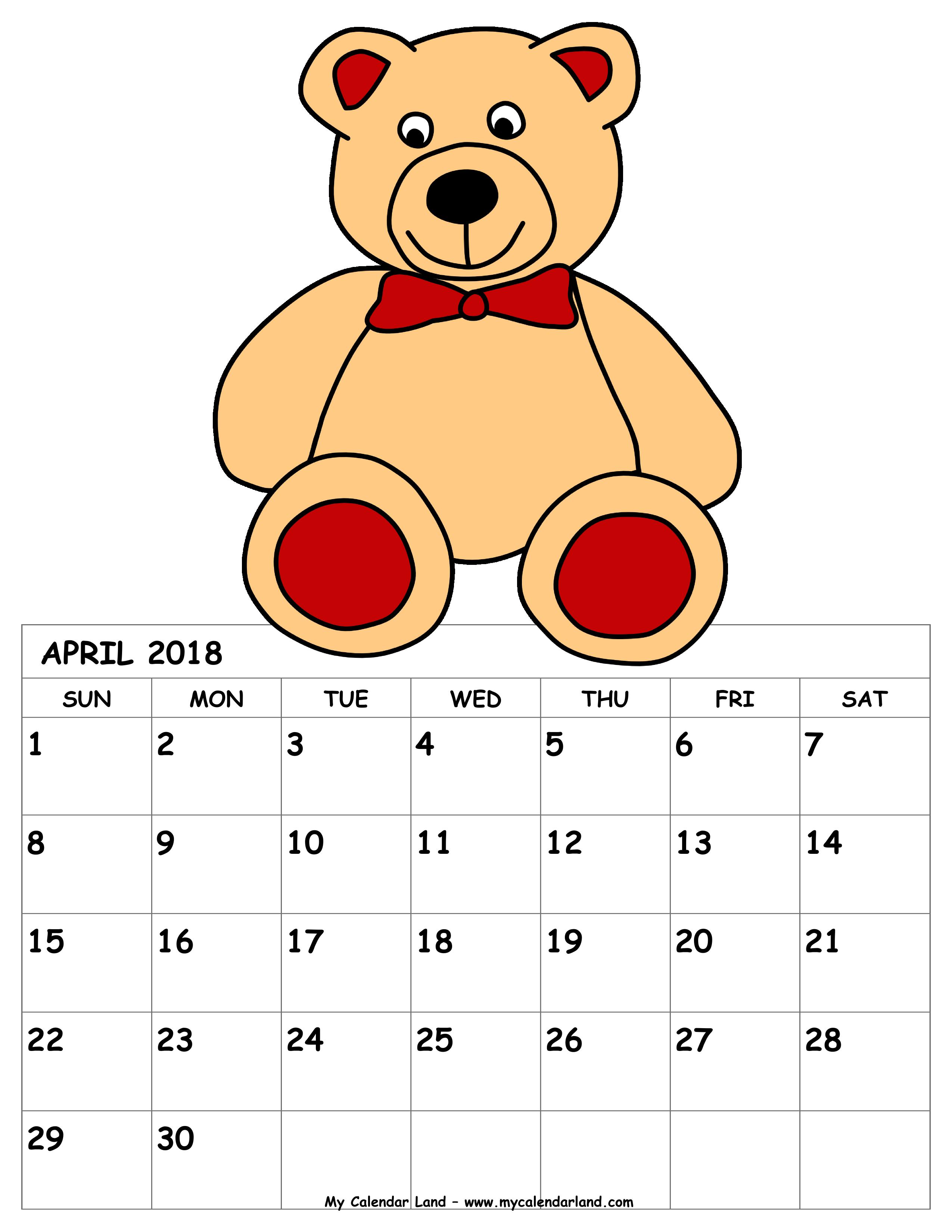Calendar april clipart vector library download April 2018 Calendar - My Calendar Land vector library download