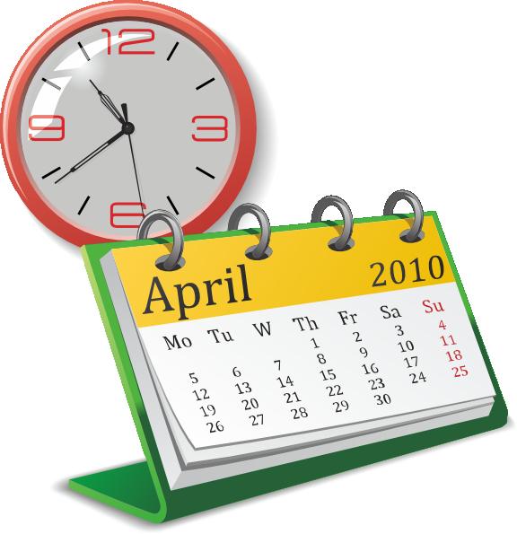 Calendar april clipart svg transparent library Clock And Calendar Clip Art at Clker.com - vector clip art online ... svg transparent library