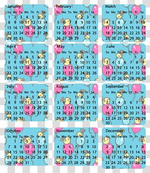 Calendar clipart 2012 vector black and white download Cool Calendars , multicolored calendar transparent background PNG ... vector black and white download