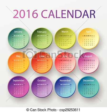 Calendar clipart 2016 clip art transparent stock Vector Clip Art of The 2016 calendar - Simple 2016 year circle ... clip art transparent stock