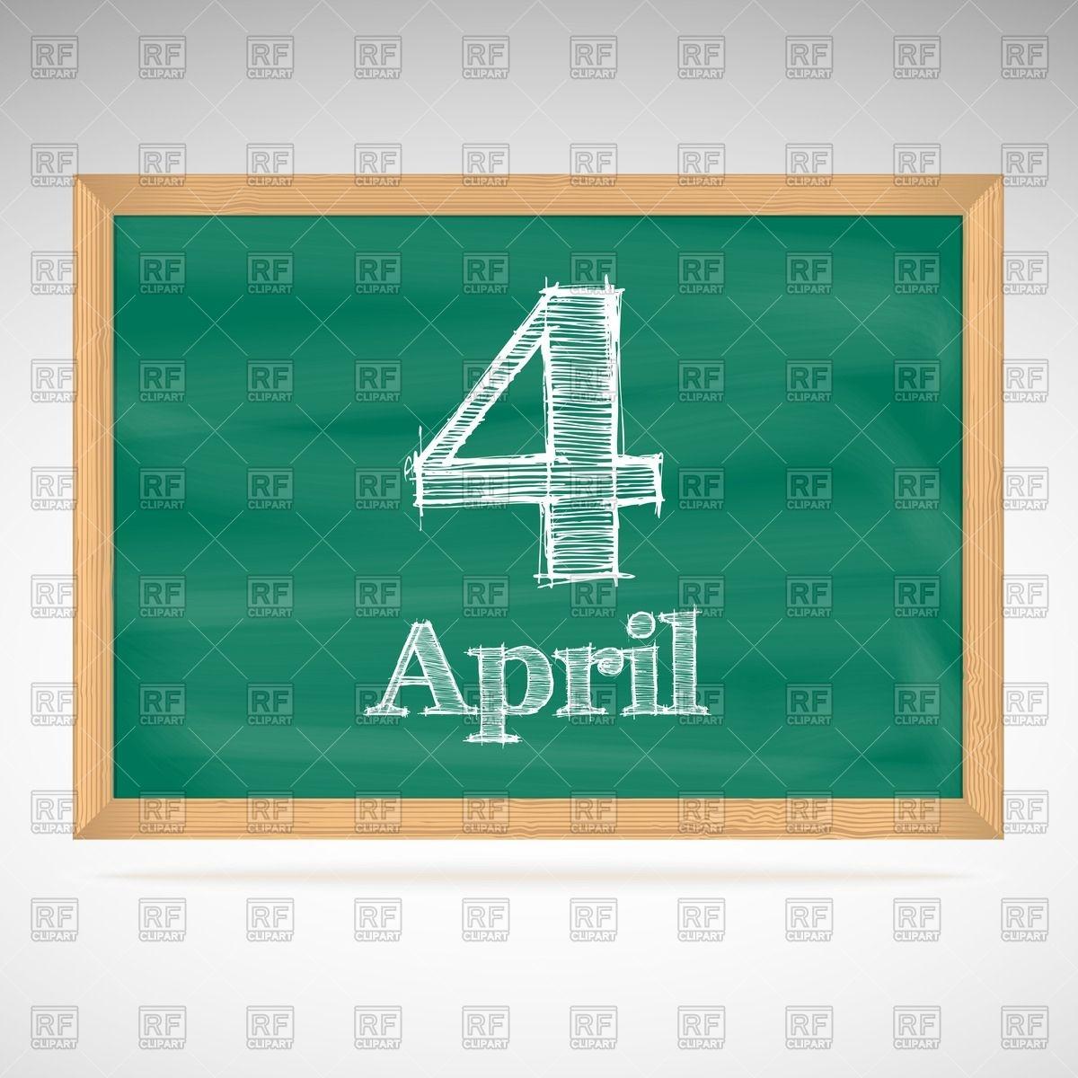 Calendar clipart april 4th. School chalkboard with inscription