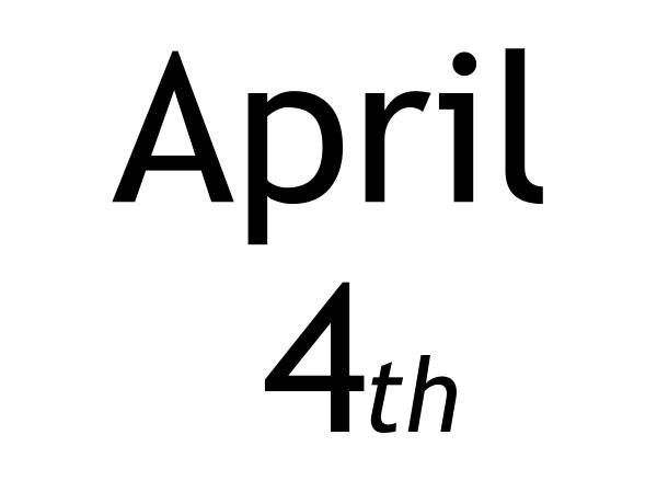 Calendar clipart april 4th. Th thing clip art