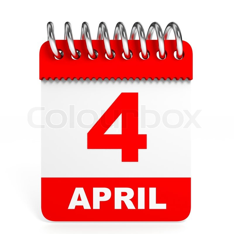 On white background d. Calendar clipart april 4th