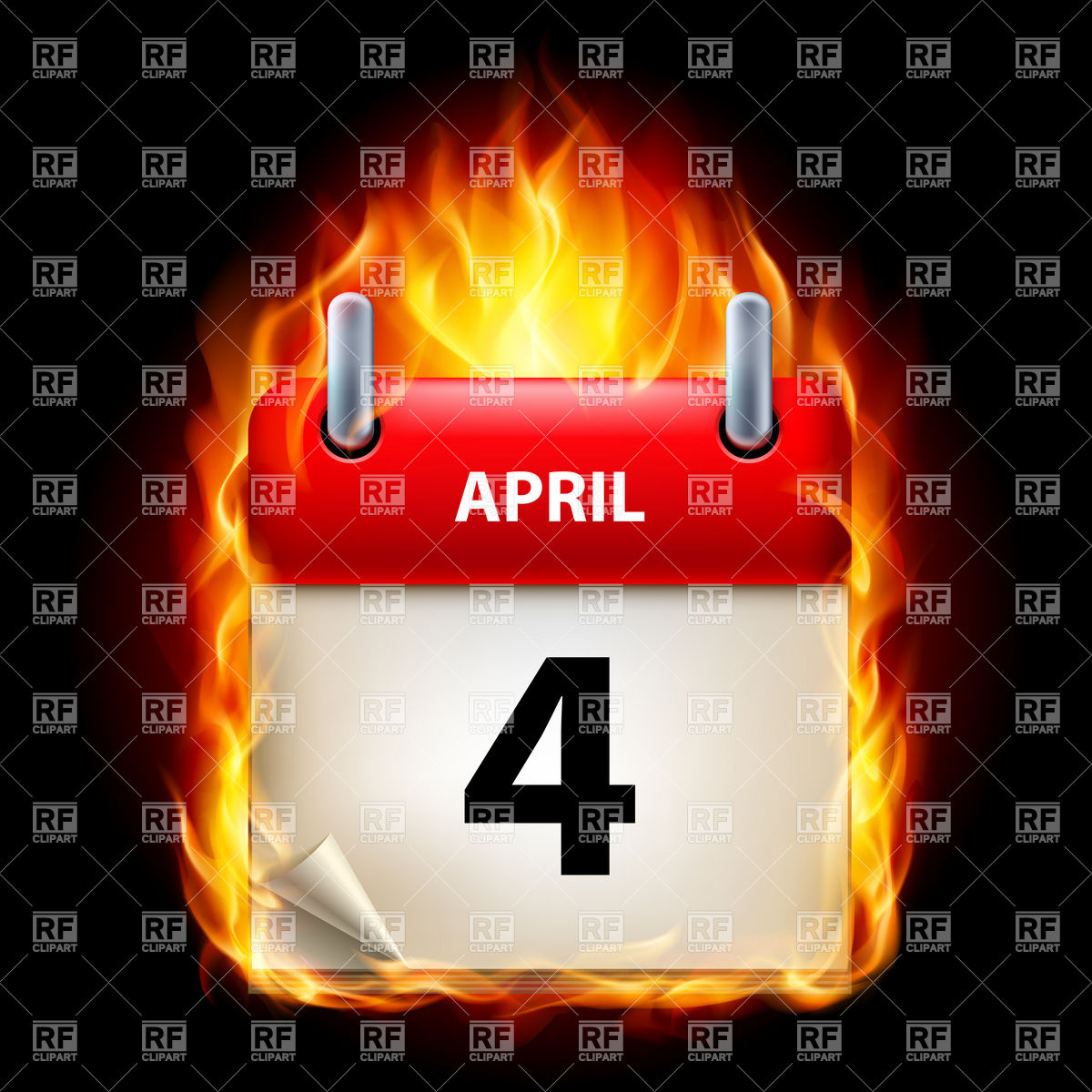 Calendar clipart april 4th. Th clipartfest burning icon