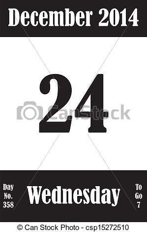 Calendar clipart december 24 jpg freeuse stock Vector Clip Art of 24 December 2014 Calendar Page with number of ... jpg freeuse stock