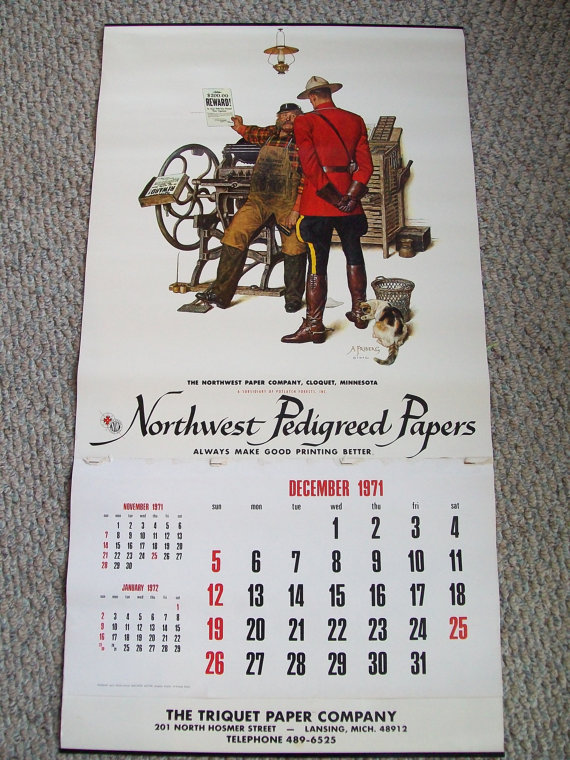 Calendar clipart december 24 1971 banner free stock Arnold Friberg calendar Canadian Mountie Vintage Lithograph banner free stock