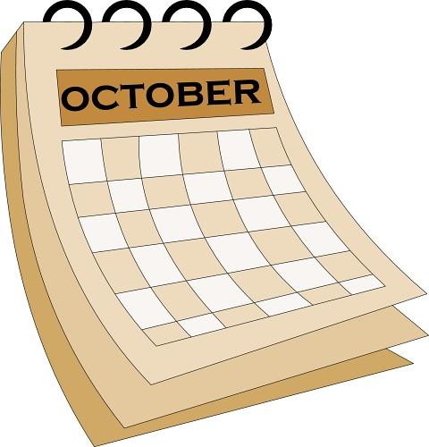 Calendar clipart for october vector October Calendar Clipart - Clipart Kid vector