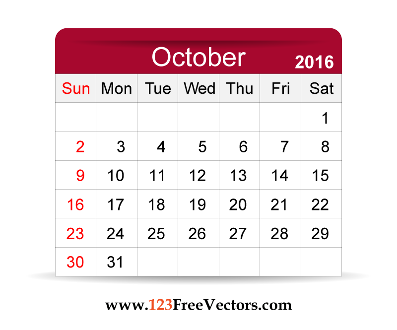 Calendar clipart for october banner library library Clipart calendar october 2016 - ClipartFest banner library library