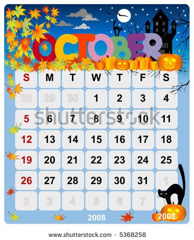 Calendar clipart for october svg transparent download Free clipart for october calendar - ClipartFest svg transparent download