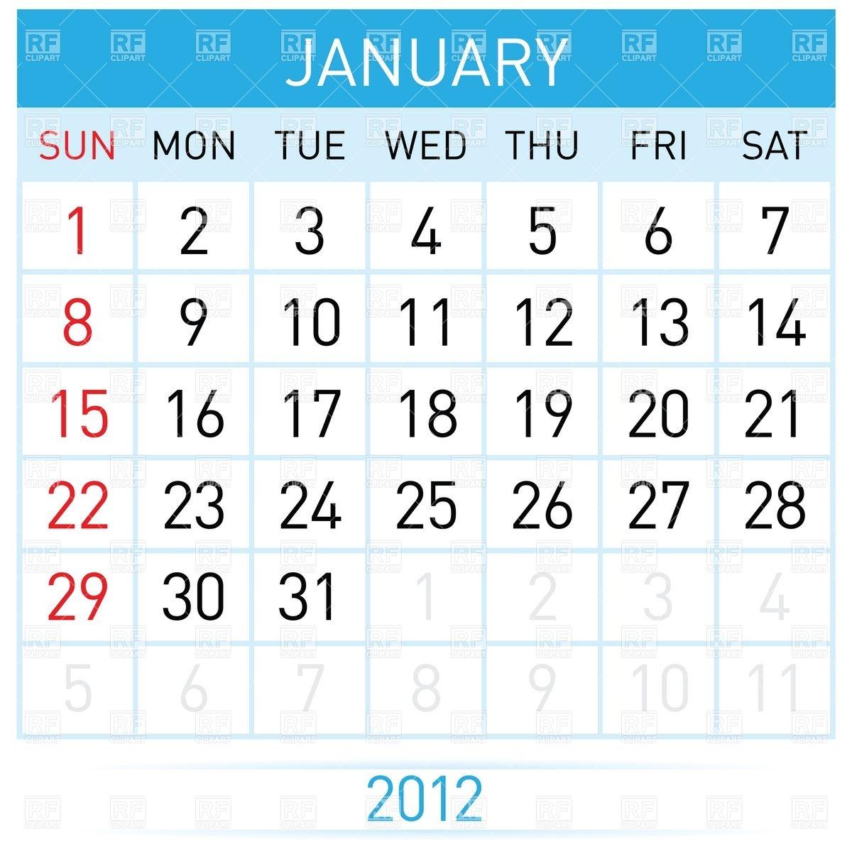 Calendar clipart january clip library January 2012 month calendar Vector Image #7729 – RFclipart clip library