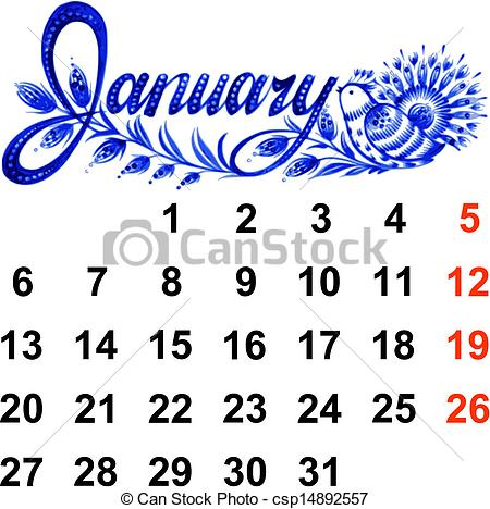 Calendar clipart january black and white library January 2014 calendar clipart - ClipartFest black and white library