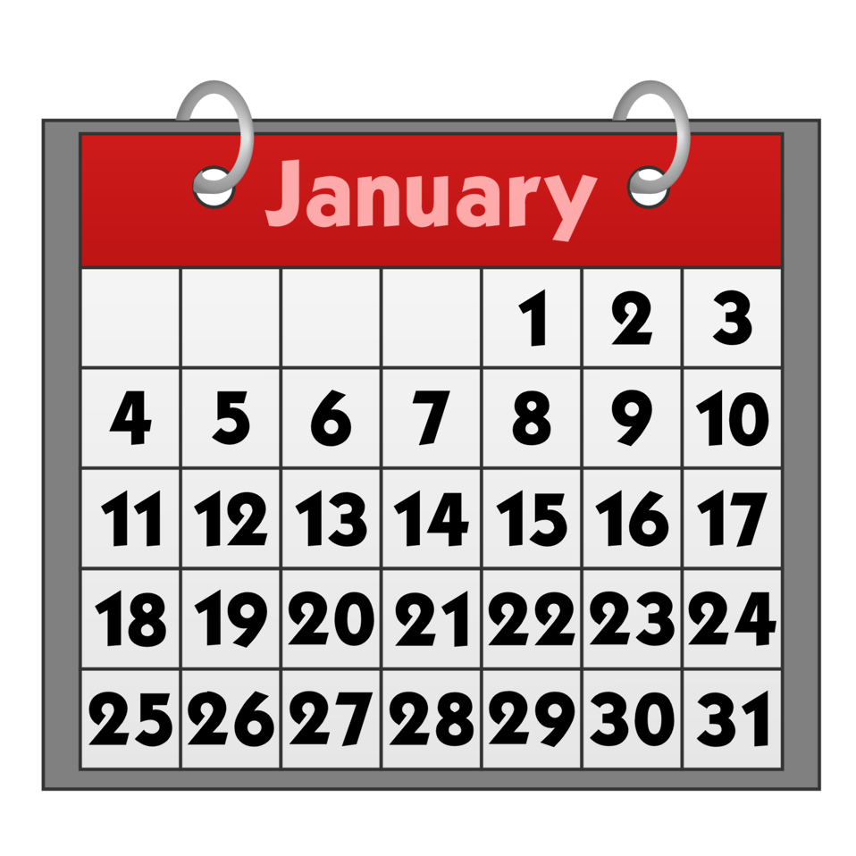 January 31 calendar clipart png download Public Domain Clip Art Image | Calendar icon with binder rings | ID ... png download