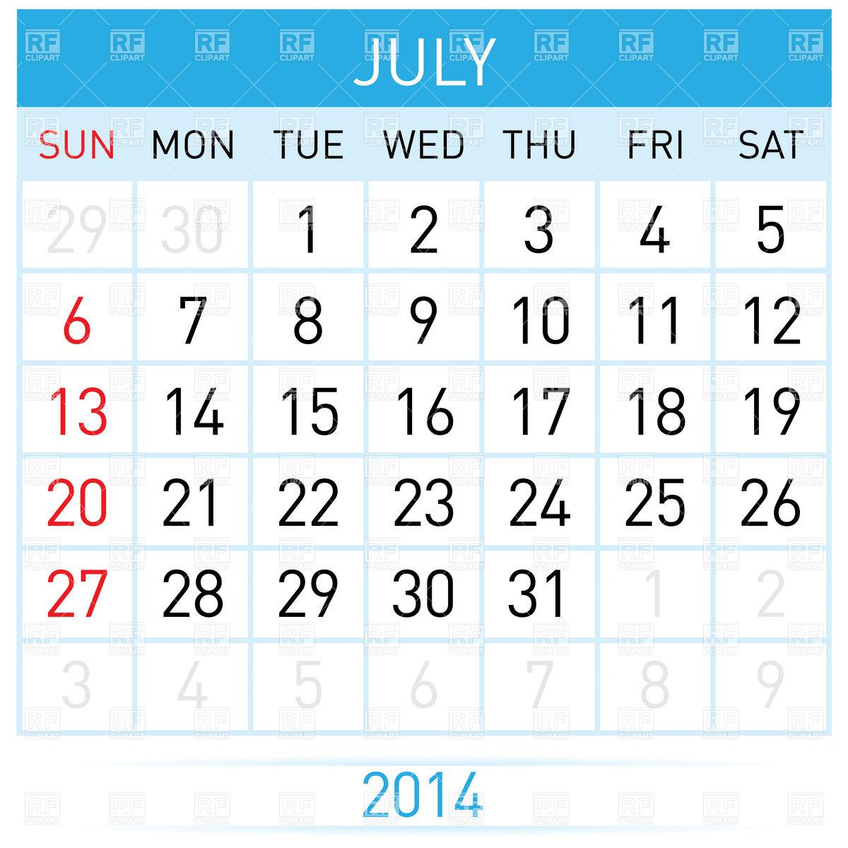 Calendar clipart july graphic transparent download July Calendar Clipart - Clipart Kid graphic transparent download