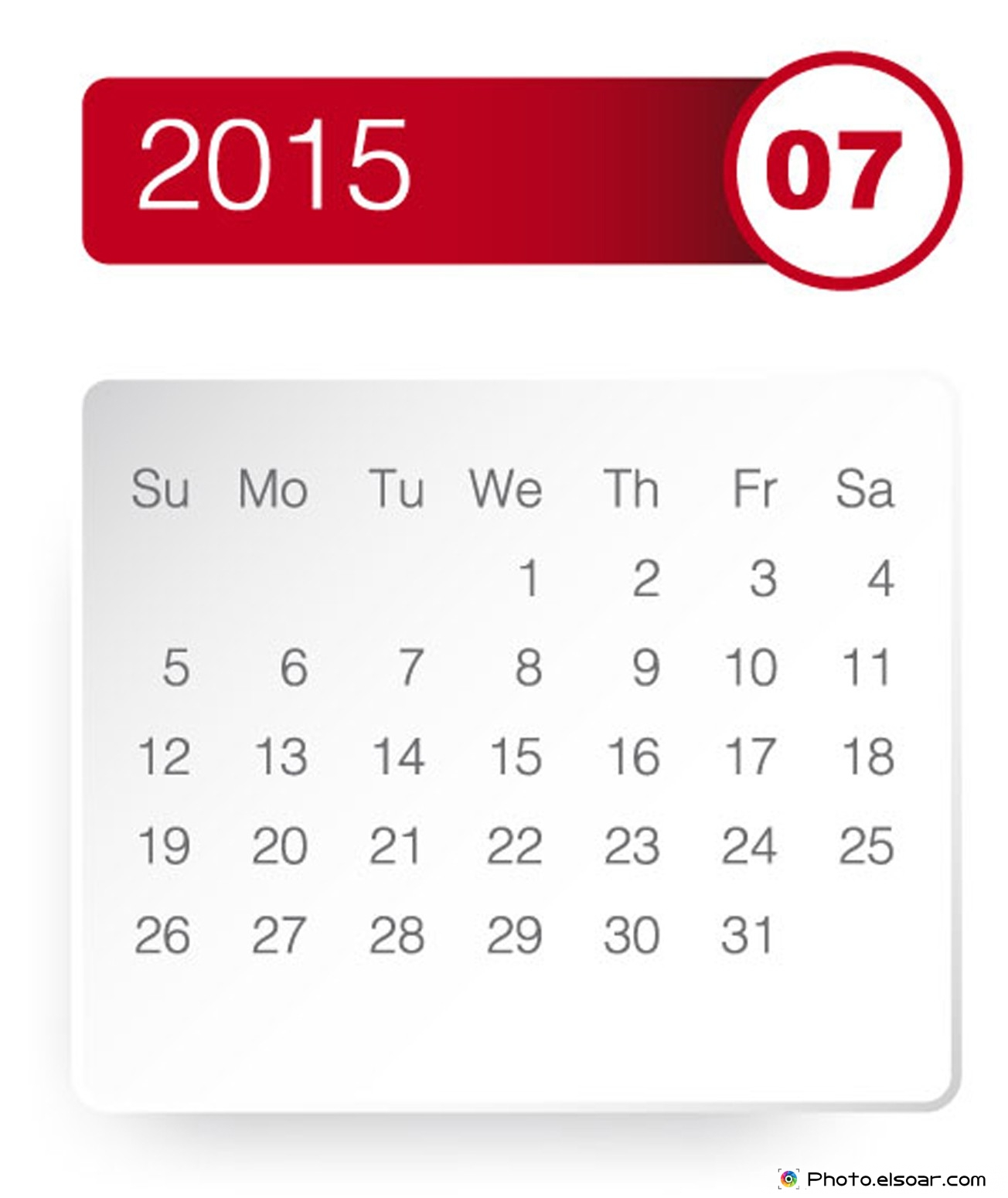 Calendar clipart july image transparent stock Calendar July 2015 Clipart - Clipart Kid image transparent stock