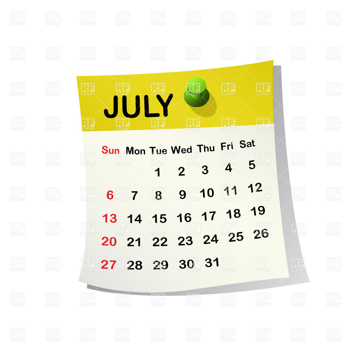 Calendar clipart july clip freeuse download July Calendar Clipart - Clipart Kid clip freeuse download