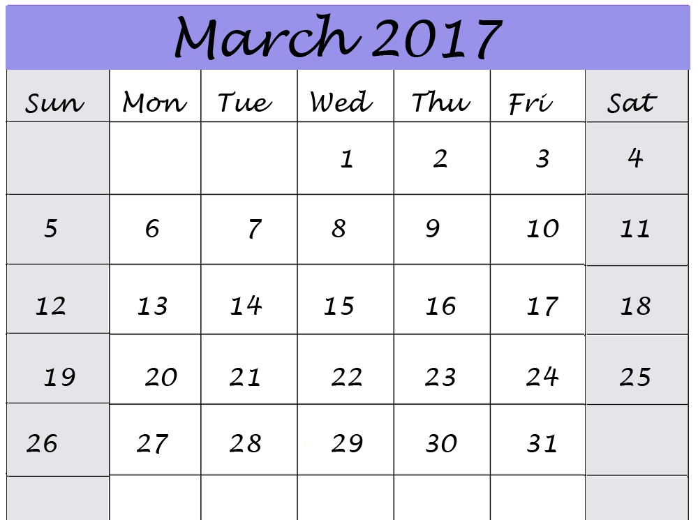 March 2017 Calendar Clip Art - Calendar And Images jpg transparent stock