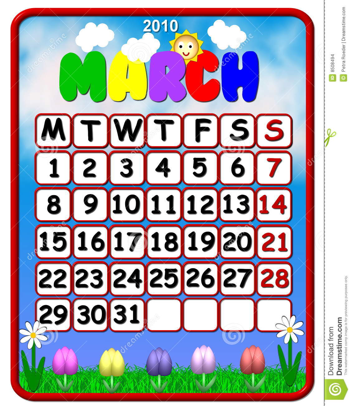 March Calendar Clipart - Clipart Kid picture