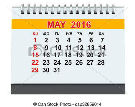 Calendar clipart may 2016 banner black and white download Clipart of May 2016 calendar isolated on white background ... banner black and white download