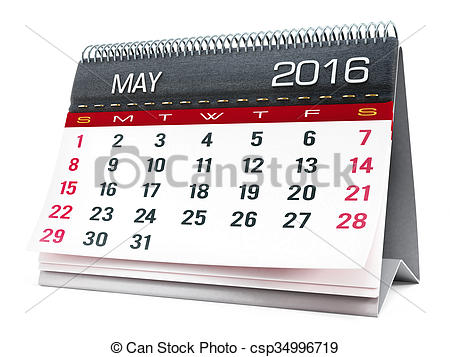 Calendar clipart may 2016 clip freeuse Clipart of May 2016 desktop calendar isolated on white background ... clip freeuse