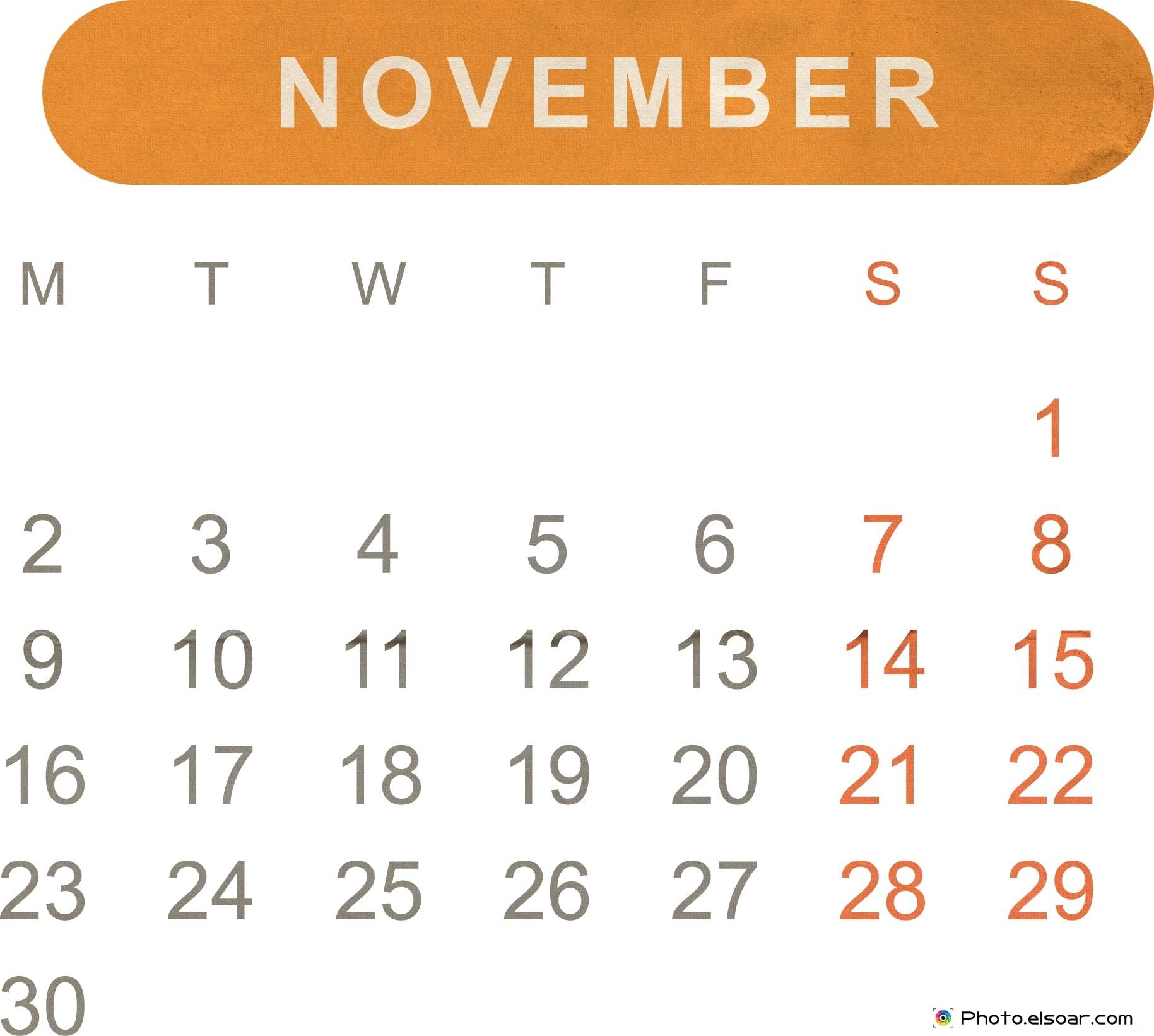 Calendar clipart november 2015 banner Free Printable Monthly Calendar 2015 – JPEG Templates • Elsoar banner