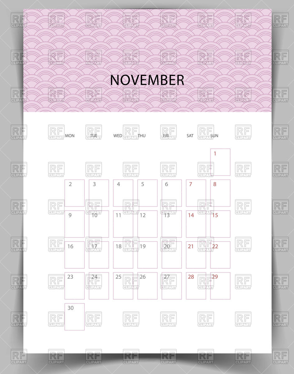 Calendar clipart november 2015 clip stock Monthly calendar for November 2015 Vector Image #47402 – RFclipart clip stock