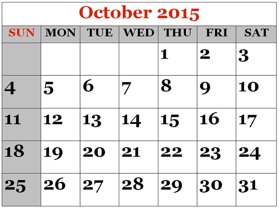 Calendar clipart november 2015 png royalty free download Free printable october 2015 calendar clipart - ClipartFest png royalty free download