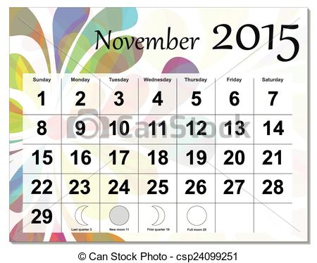 Calendar clipart november 2015 svg black and white stock Clipart Vector of November 2015 calendar. csp24099251 - Search ... svg black and white stock