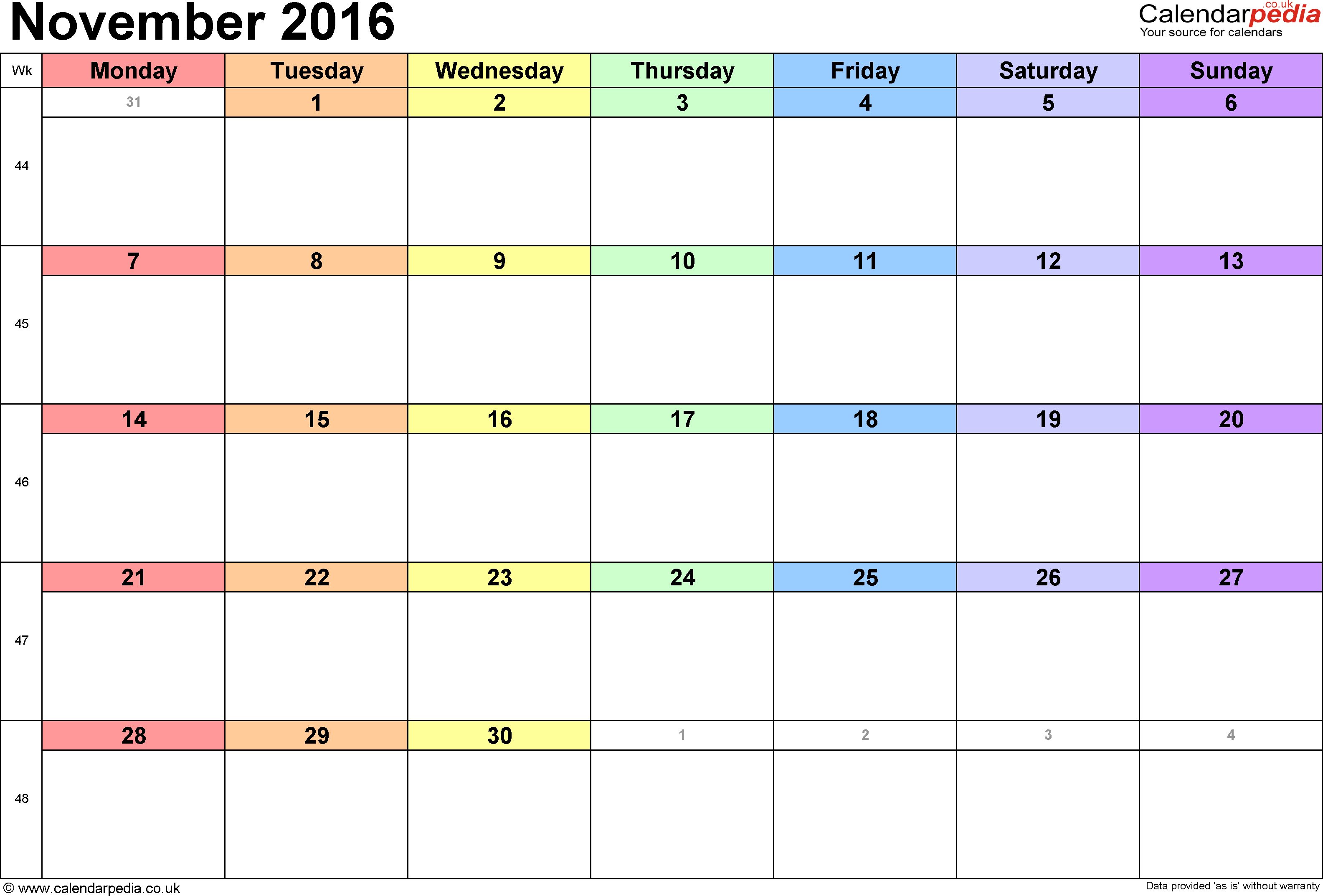 Clip art black and. Calendar clipart november 2016