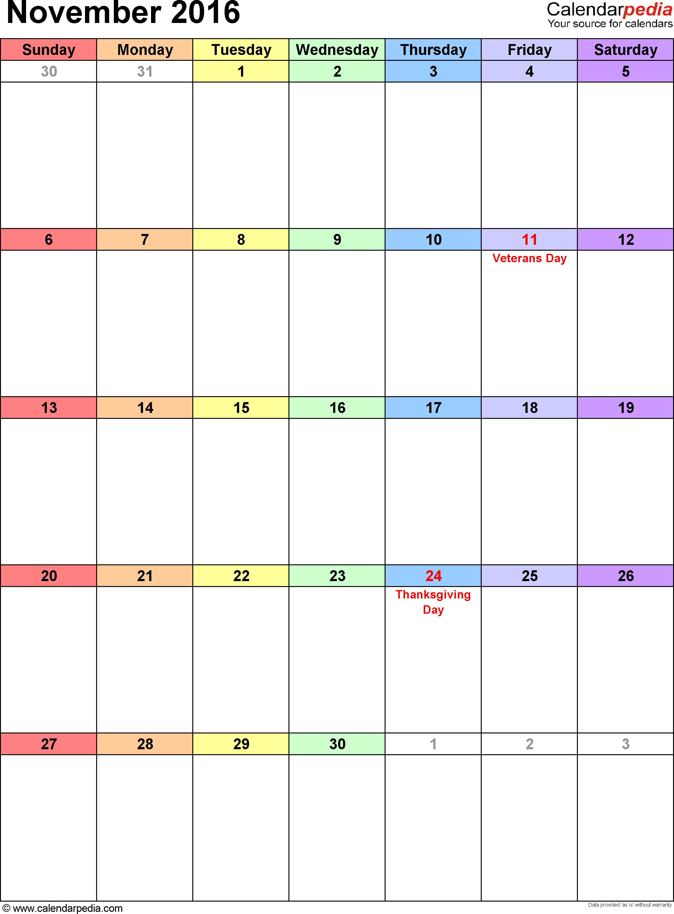 Calendar clipart november 2016 vector free library November 2016 Calendars for Word, Excel & PDF vector free library