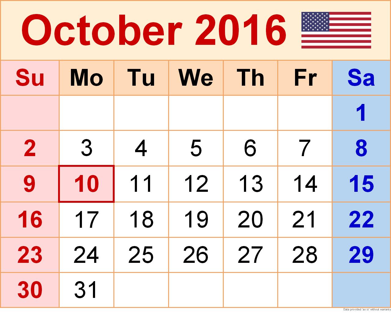 Calendar clipart october 2016 clip art transparent download Clipart calendar october 2016 - ClipartNinja clip art transparent download