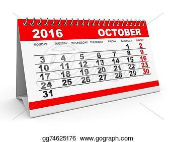 Calendar clipart october 2016 clip transparent stock Calendar 2016 October Clipart - Online Printable Monthly Calendar clip transparent stock