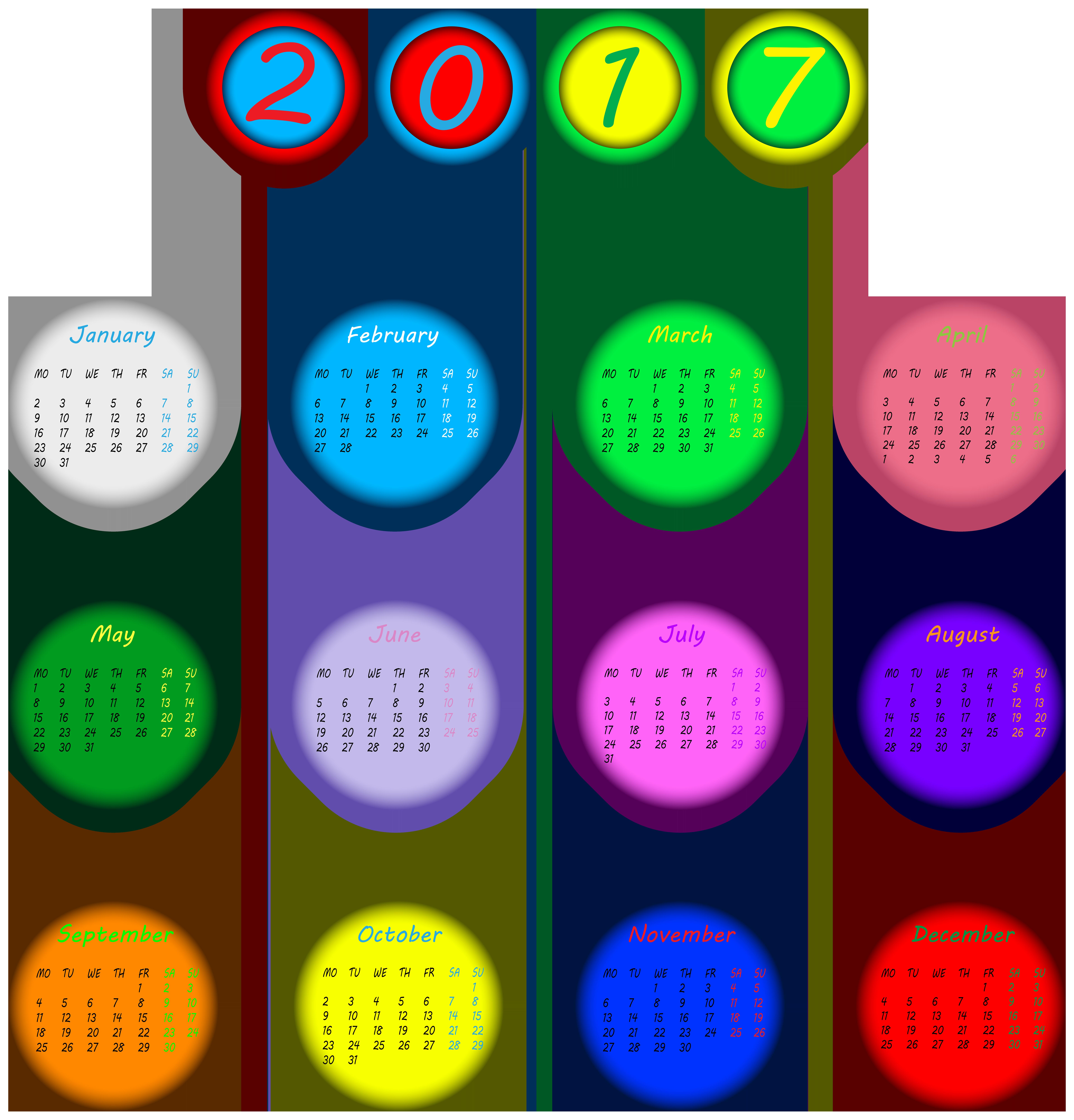 Calendar clipart png transparent library 2017 Multicolored Calendar Transparent PNG Clip Art Image library