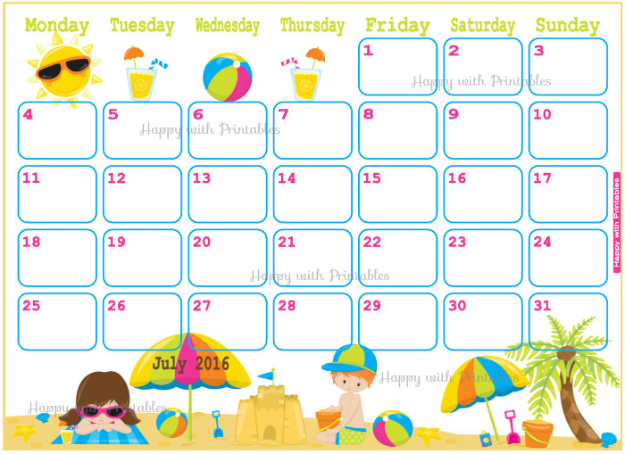 Calendar july 2016 clipart svg library library Cute July 2016 calendar - Printable Monthly Calendar svg library library