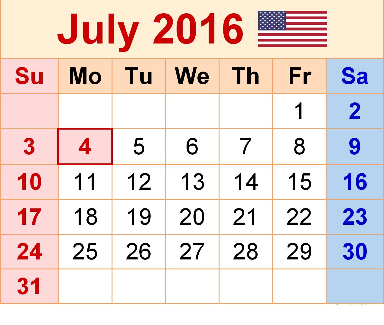 Calendar july 2016 clipart royalty free July 2016 Printable Calendar   Blank Templates   Printable ... royalty free