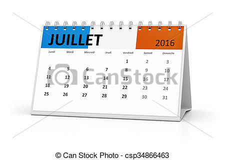 Calendar july 2016 clipart image Stock Illustration of french language table calendar 2016 july - A ... image