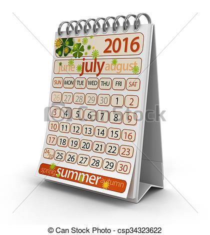 Calendar july 2016 clipart vector transparent download Clip Art of Calendar - July 2016 (clipping path included ... vector transparent download