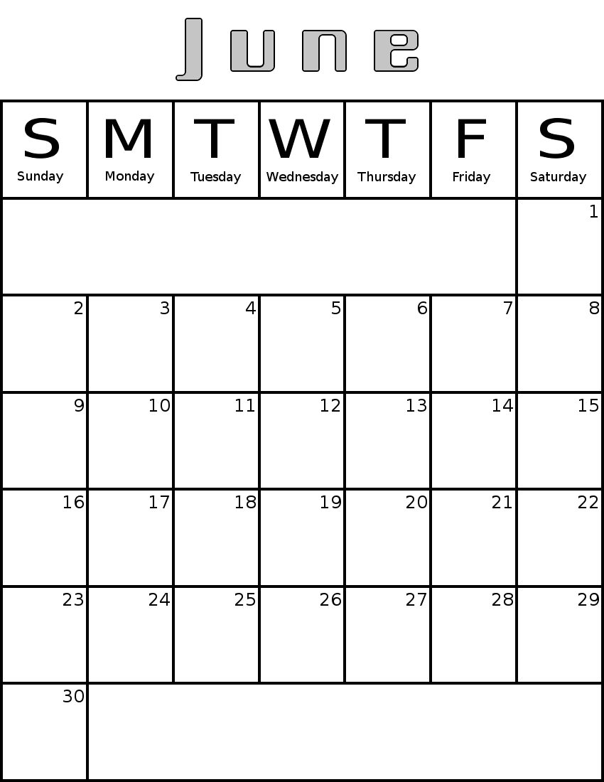 Calendar june clipart clipart library June Calendar Clipart - Clipart Kid clipart library