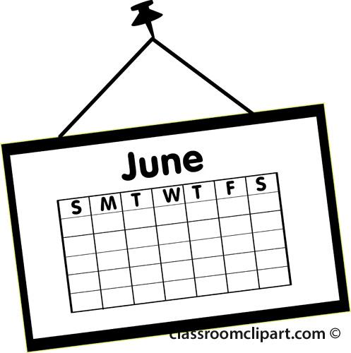 Clipartfest outline . Calendar june clipart